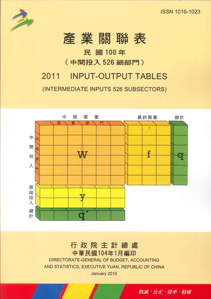 中華民國臺灣地區產業關聯表(中間投入...細部門)=Input-output tables : intermediate inputs...subsectors
