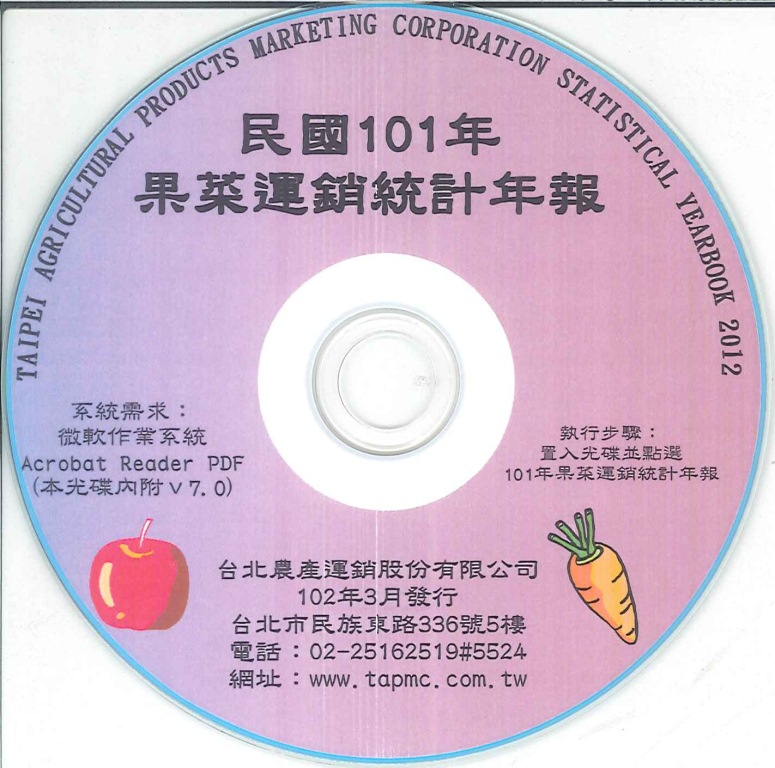 果菜運銷統計年報=Taipei agricultural products marketing corporation statistical yearbook