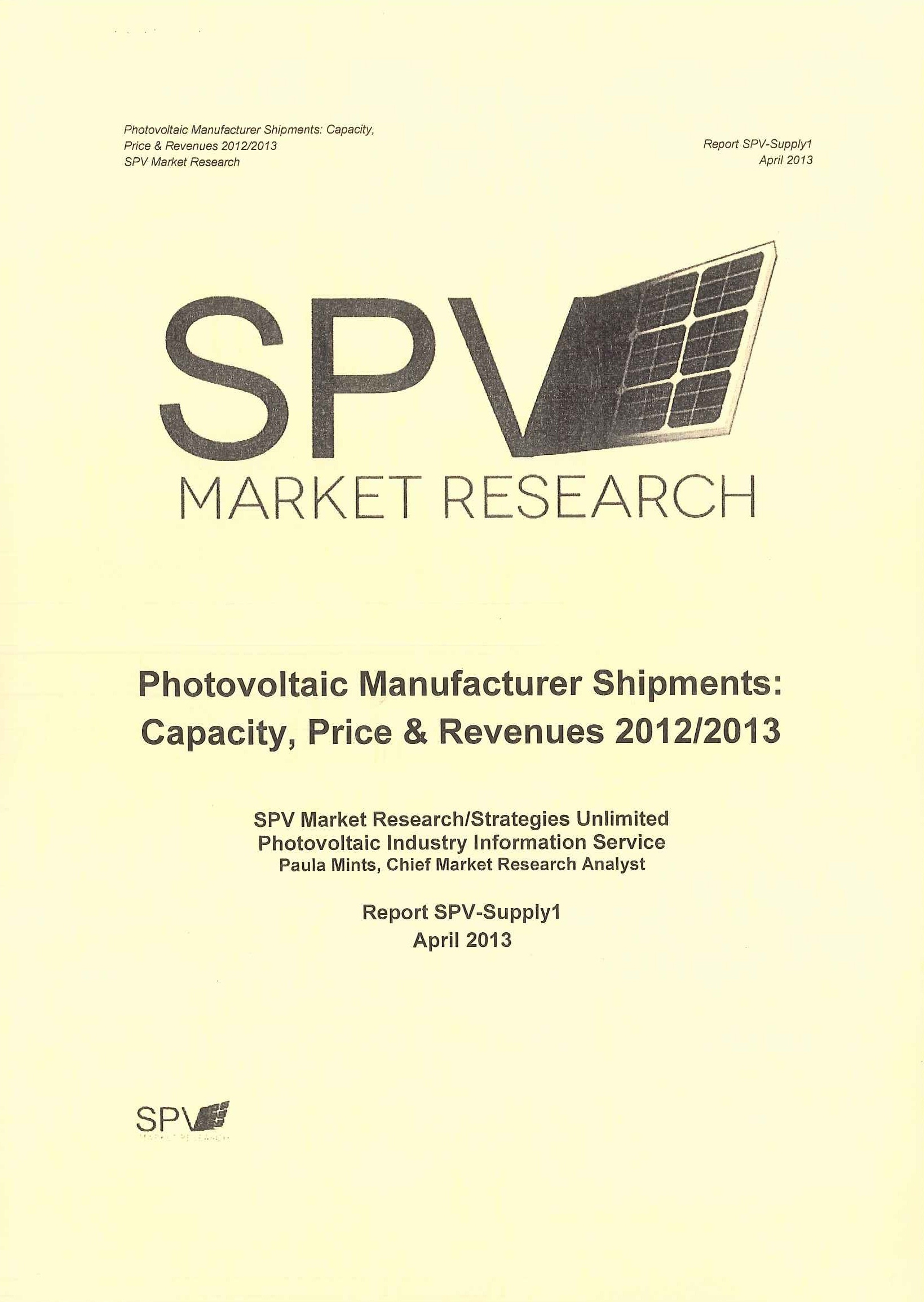 Photovoltaic manufacturer shipments [電子書]:capacity, price & revenue 2012/2013
