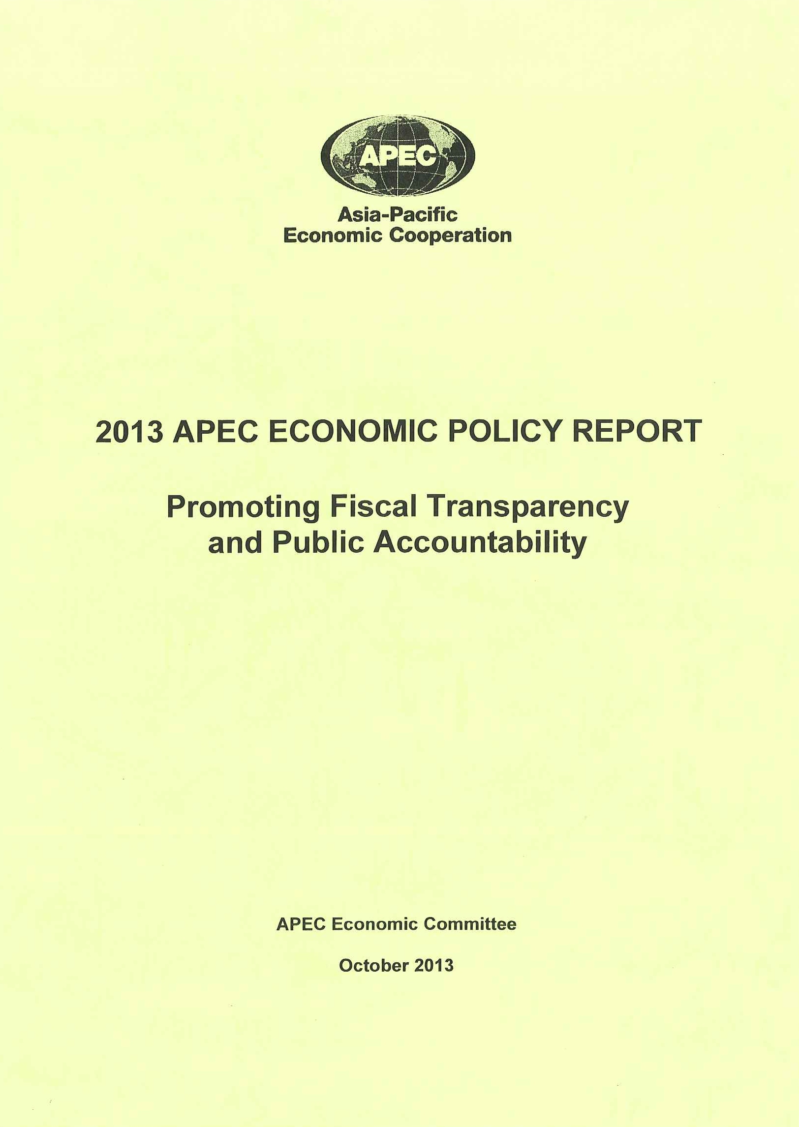 2013 APEC economic policy report:promoting fiscal transparency and public accountability