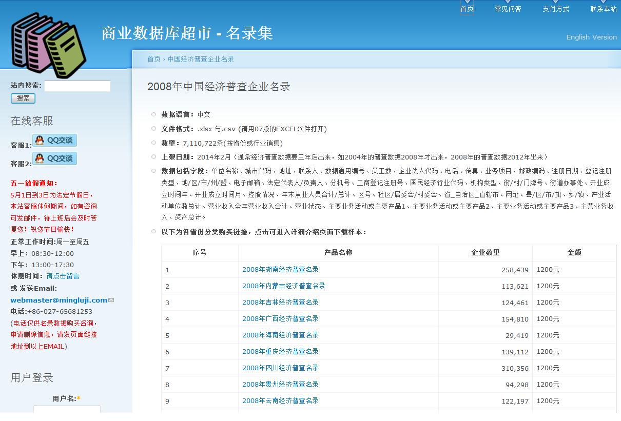 2008年中国经济普查企业名录 [電子資源]