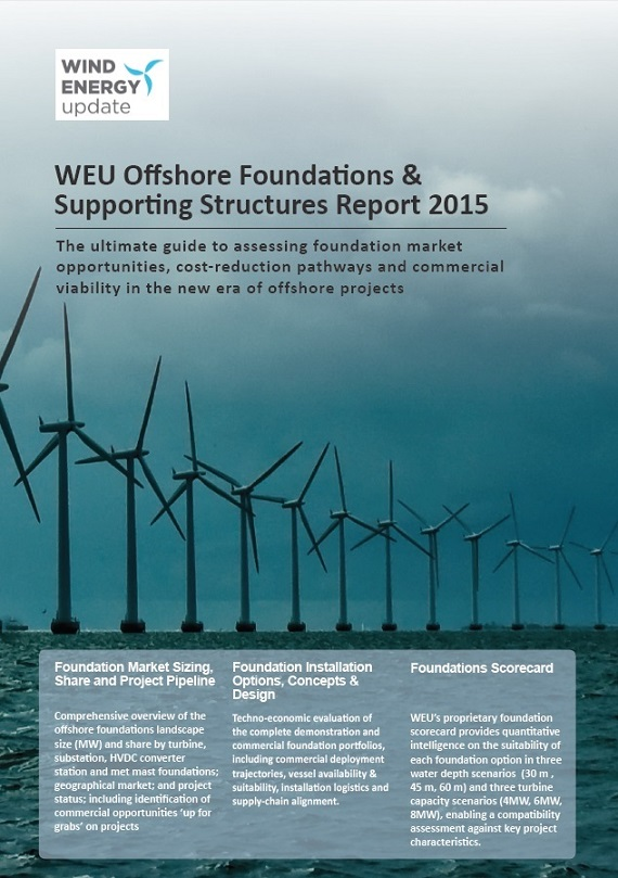 WEU offshore foundations & supporting structures report 2015 [e-book]:the ultimate guide to assessing foundation market opportunities, cost-reduction pathways and commercial viability in the new era of offshore projects