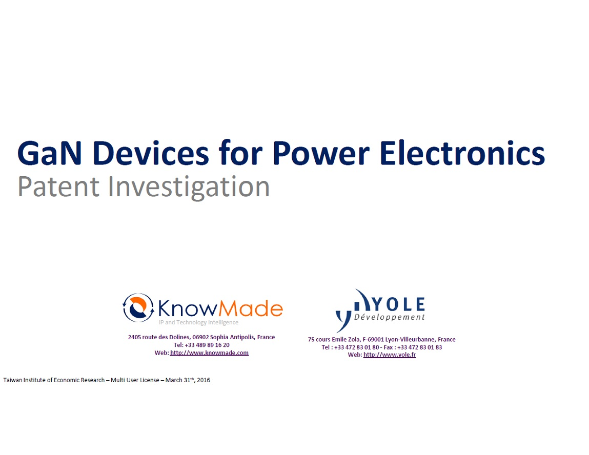 GaN devices for power electronics [ebook]:patent investigation