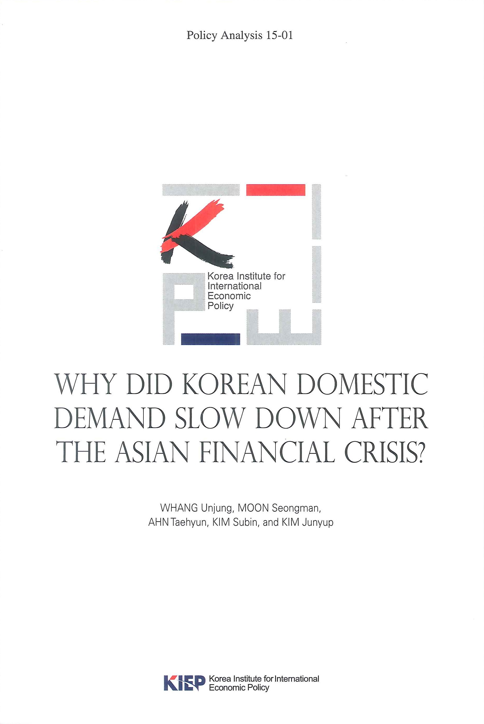Why did Korean domestic demand slow down after the Asian financial crisis?