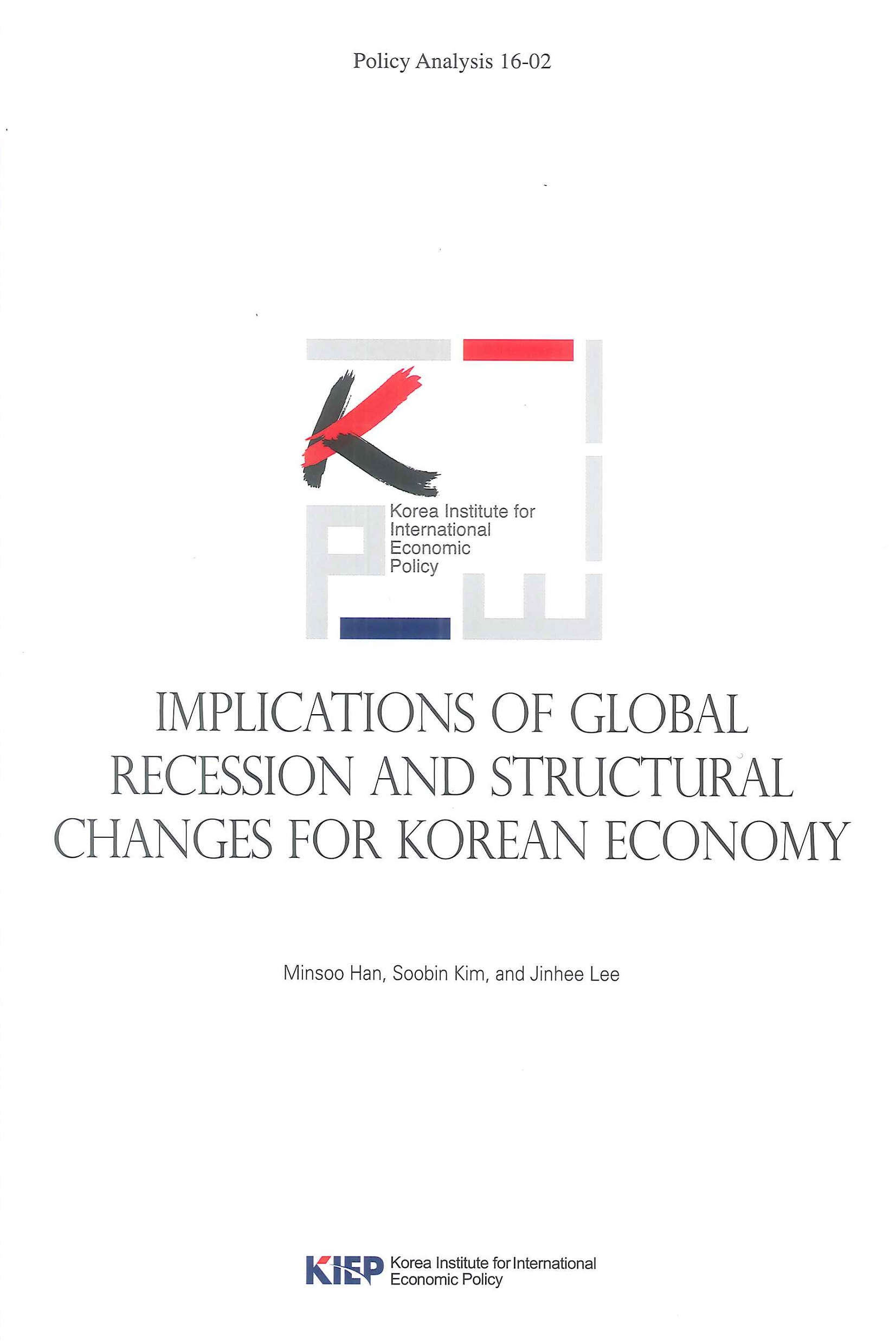 Implications of global recession and structural changes for Korean economy
