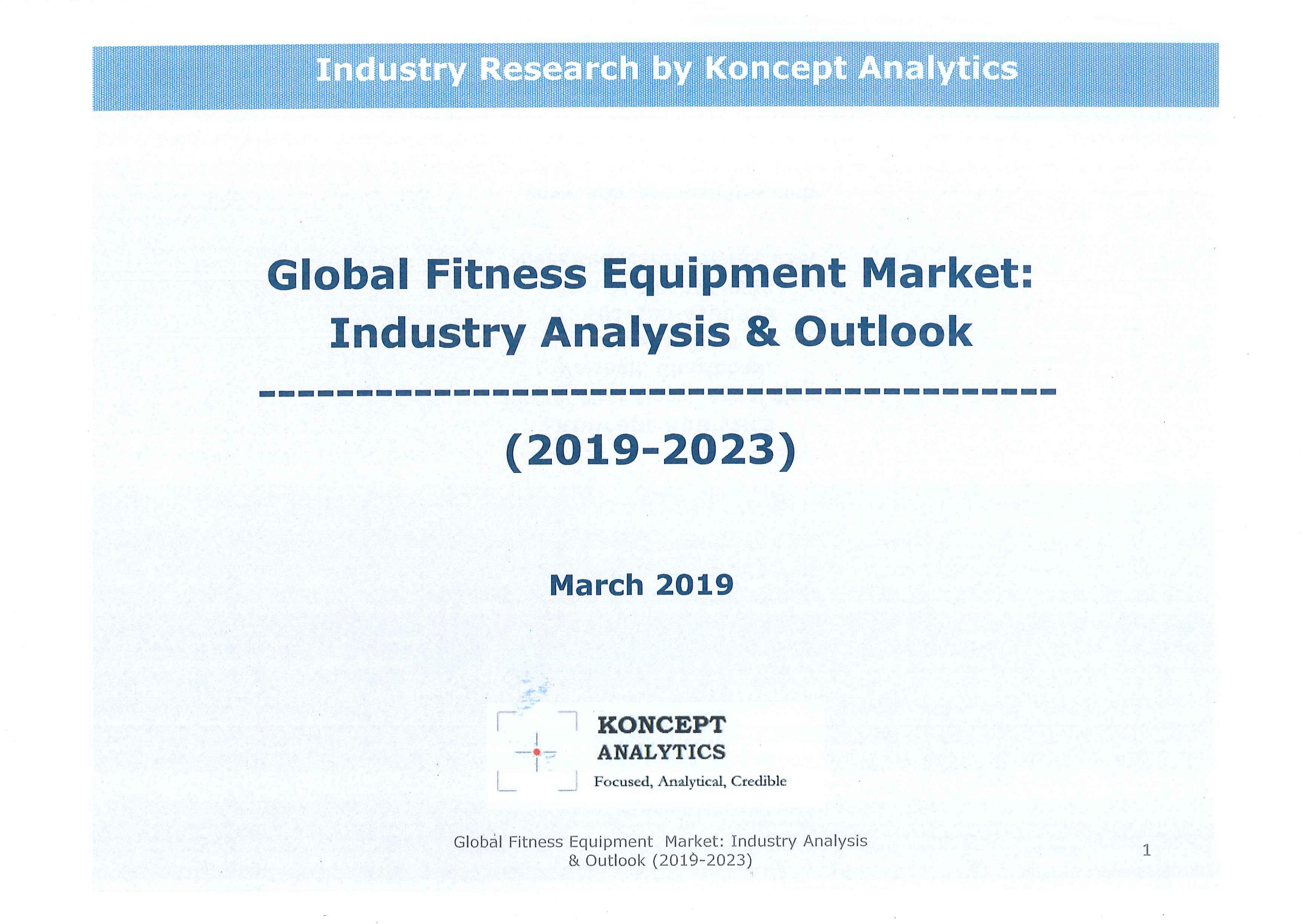 Global fitness equipment market [e-book].2019-2023:industry analysis & outlook
