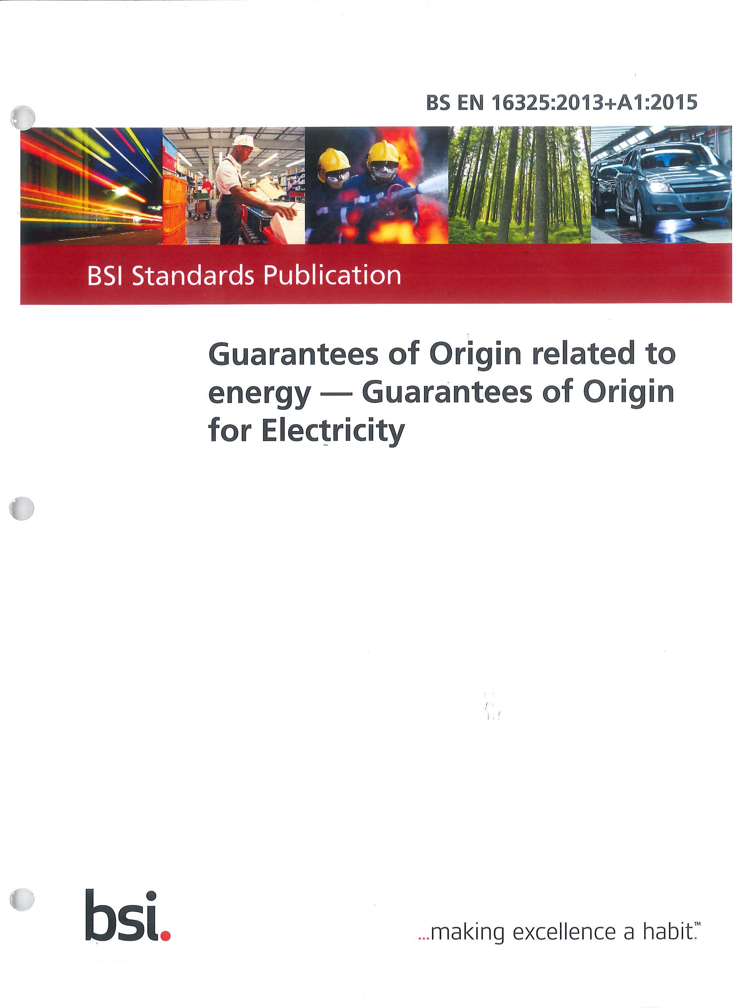 Guarantees of origin related to energy:guarantees of origin for electricity